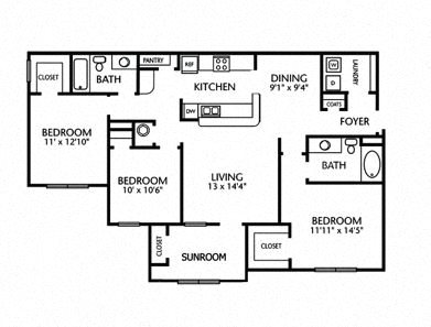 3x2 1386 Sq Ft 3 Bedroom 2 Bath Floor Plan 5