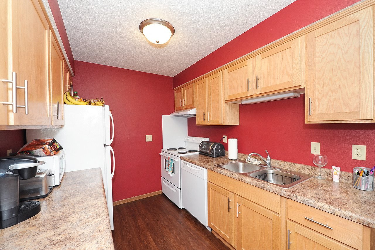 Kitchen at College Living St Cloud in St. Cloud Apartments Saint Cloud MN