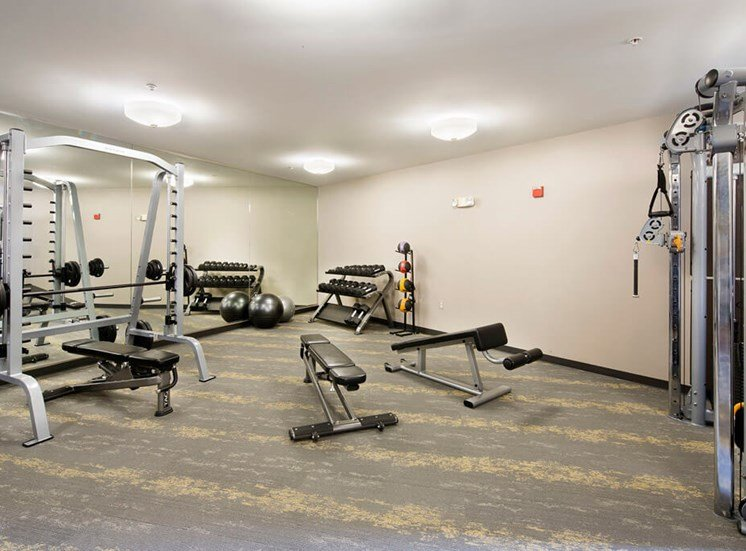 24 hour fitness room at Dwell Vienna Metro Apartments in Fairfax, VA