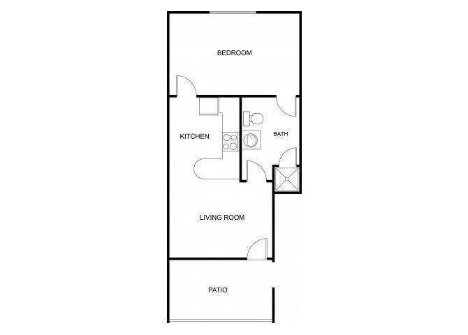 1 bedroom 1 bathroom floor plan at The Regency Apartments in Tempe, AZ