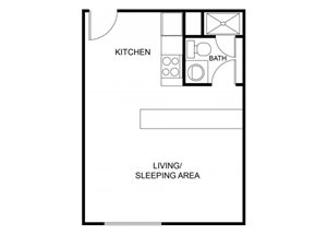 Studio floor plan at The Regency Apartments in Tempe, AZ