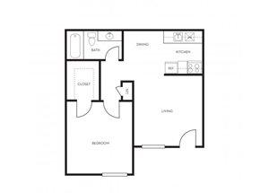 1 bedroom 1 bathroom floor plan at Park At Deer Valley Apartments in Phoenix, AZ