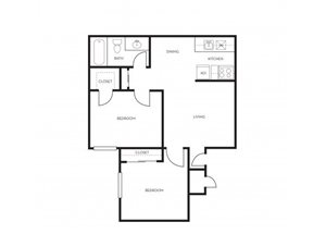 2 bedroom 1 bathroom floor plan at Park At Deer Valley Apartments in Phoenix, AZ