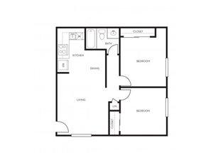 2 bedroom 1 bathroom floorplan at Park At Deer Valley Apartments in Phoenix, AZ