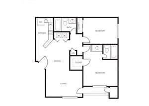 2 bedroom 2 bathroom floor plan at Park At Deer Valley Apartments in Phoenix, AZ