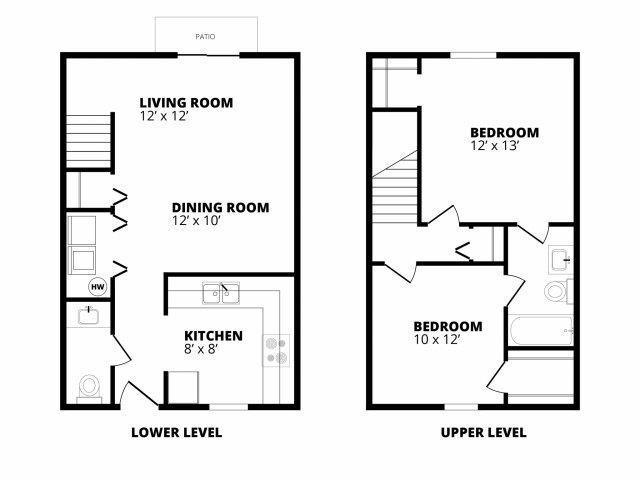 2 Bedroom 1.5 Bath Floor Plan 1