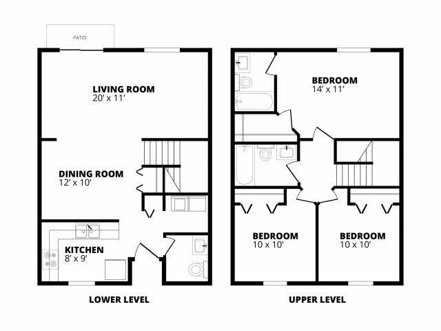 3 Bedroom 2.5 Bath Floor Plan 3