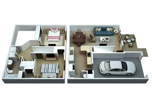 2 Bedrooms / 1 1/2 Bathrooms