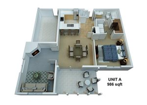 1 Bedroom / 1 Bathroom /w Den