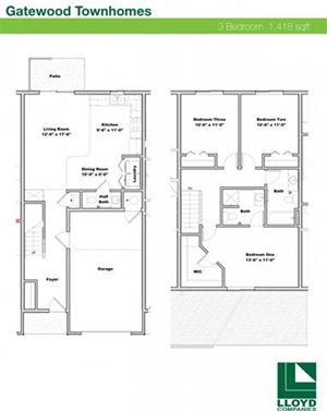 3 Bedrooms / 2 1/2 Bathrooms Townhome