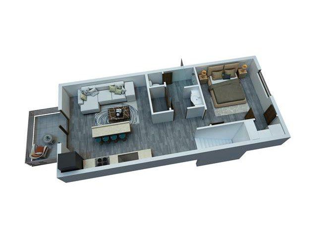 1 Bedroom / 1 Bathroom Townhome Floor Plan 3