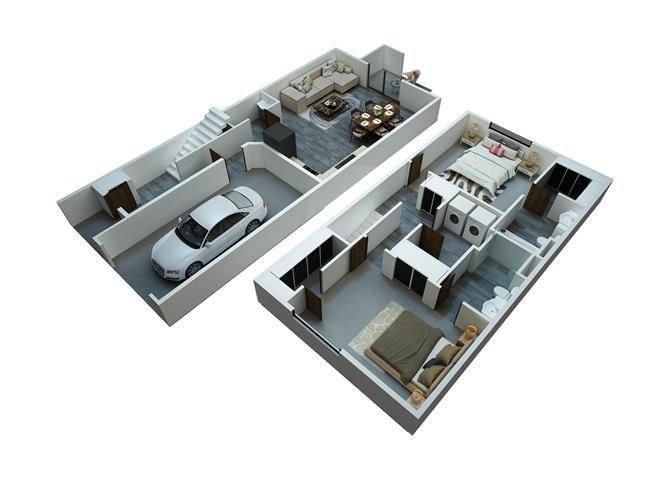 2 Bedrooms / 2 1/2 Bathrooms Townhome Floor Plan 1