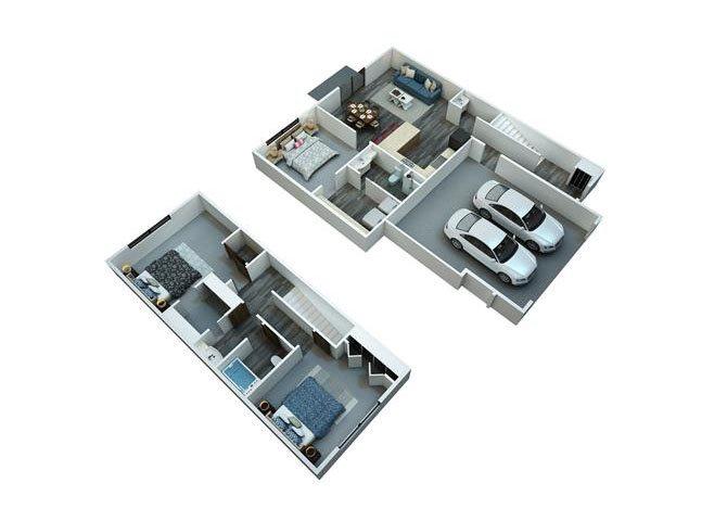 3 Bedrooms / 2 1/2 Bathrooms Floor Plan 2