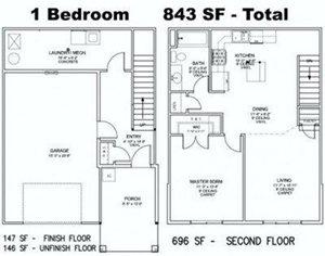1 Bedroom / 1 Bathroom Townhome