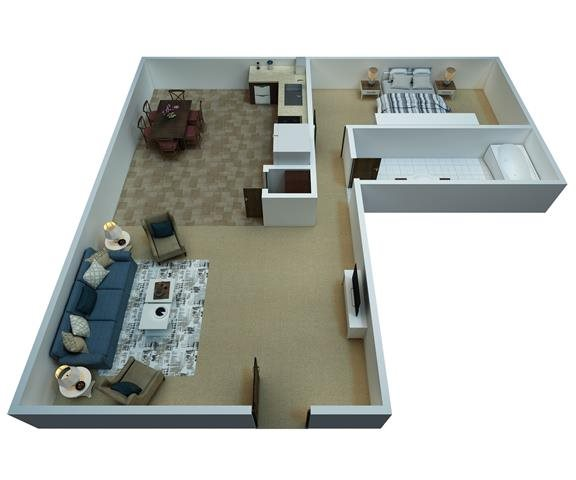 1 Bedroom / 1 Bathroom Floor Plan 1