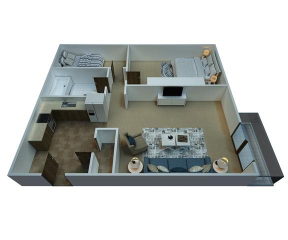 2 Bedrooms / 1 Bathroom Floor Plan 2