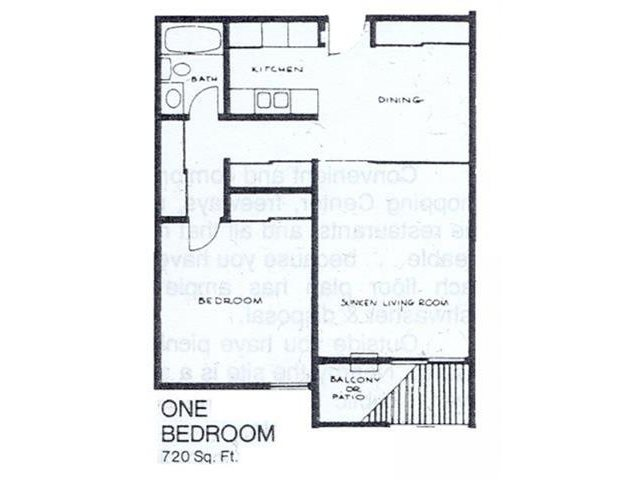 1 Bedroom / 1 Bathroom Floor Plan 1