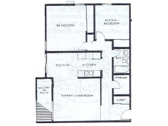 2 Bedrooms / 1 Bathroom Floor Plan 2
