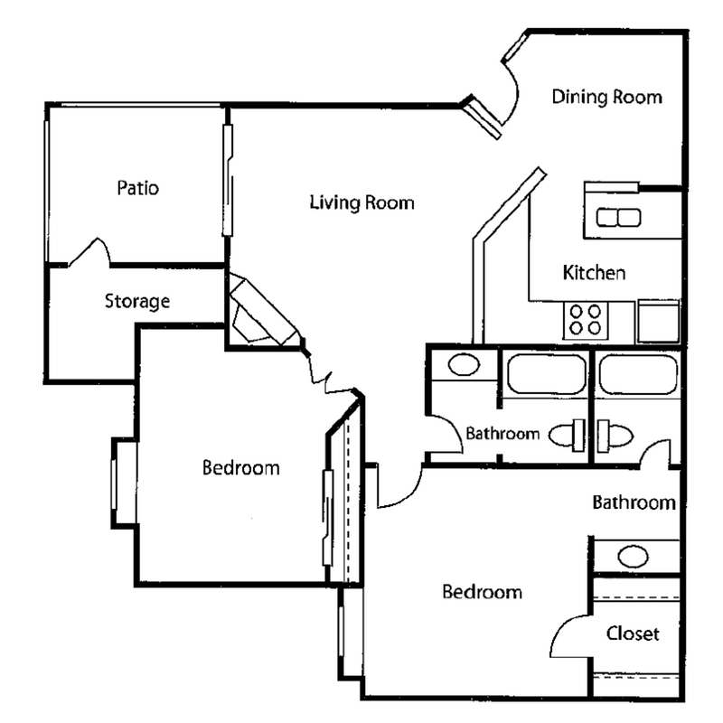 2 bed 2 bath reno Floor Plan 3