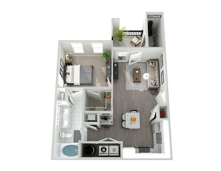 Meridian at Ten Ten One Bedroom Floor Plan
