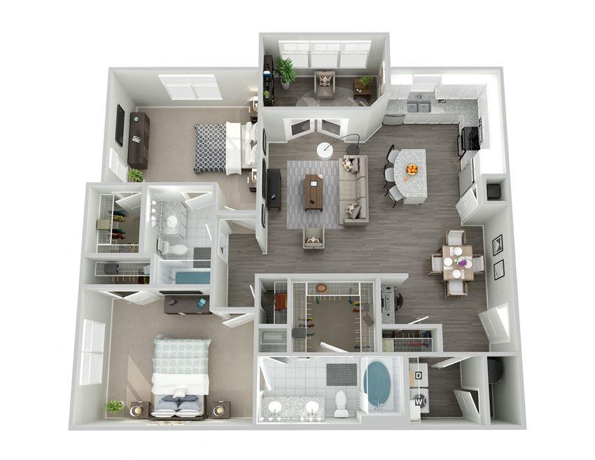 Meridian at Ten Ten Two Bedroom Floor Plan