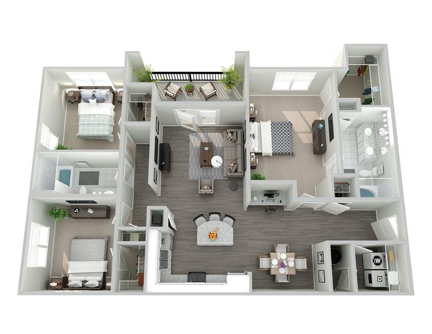 Meridian at Ten Ten Three Bedroom Floor Plan