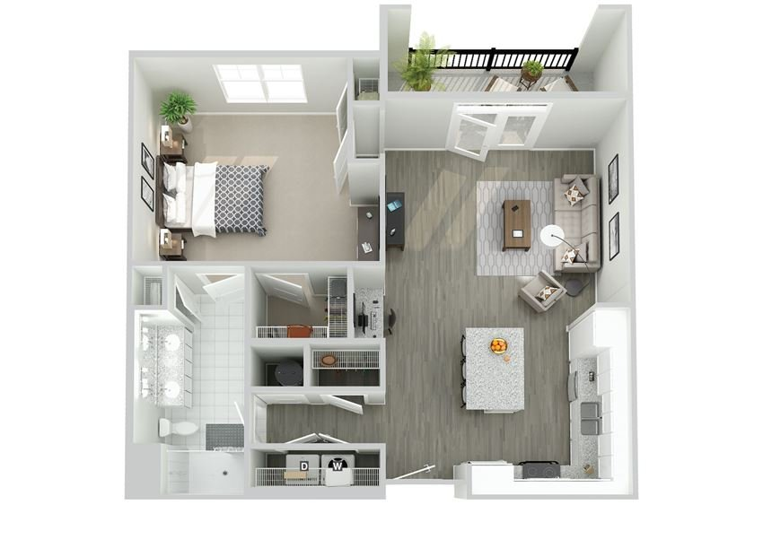 Meridian at Nichols Plaza One Bedroom Floor Plan