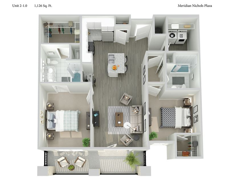 Meridian at Nichols Plaza Two Bedroom Floor Plan