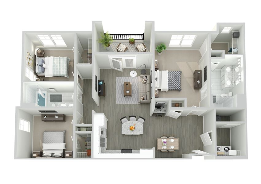 Meridian at Nichols Plaza Three Bedroom Floor Plan