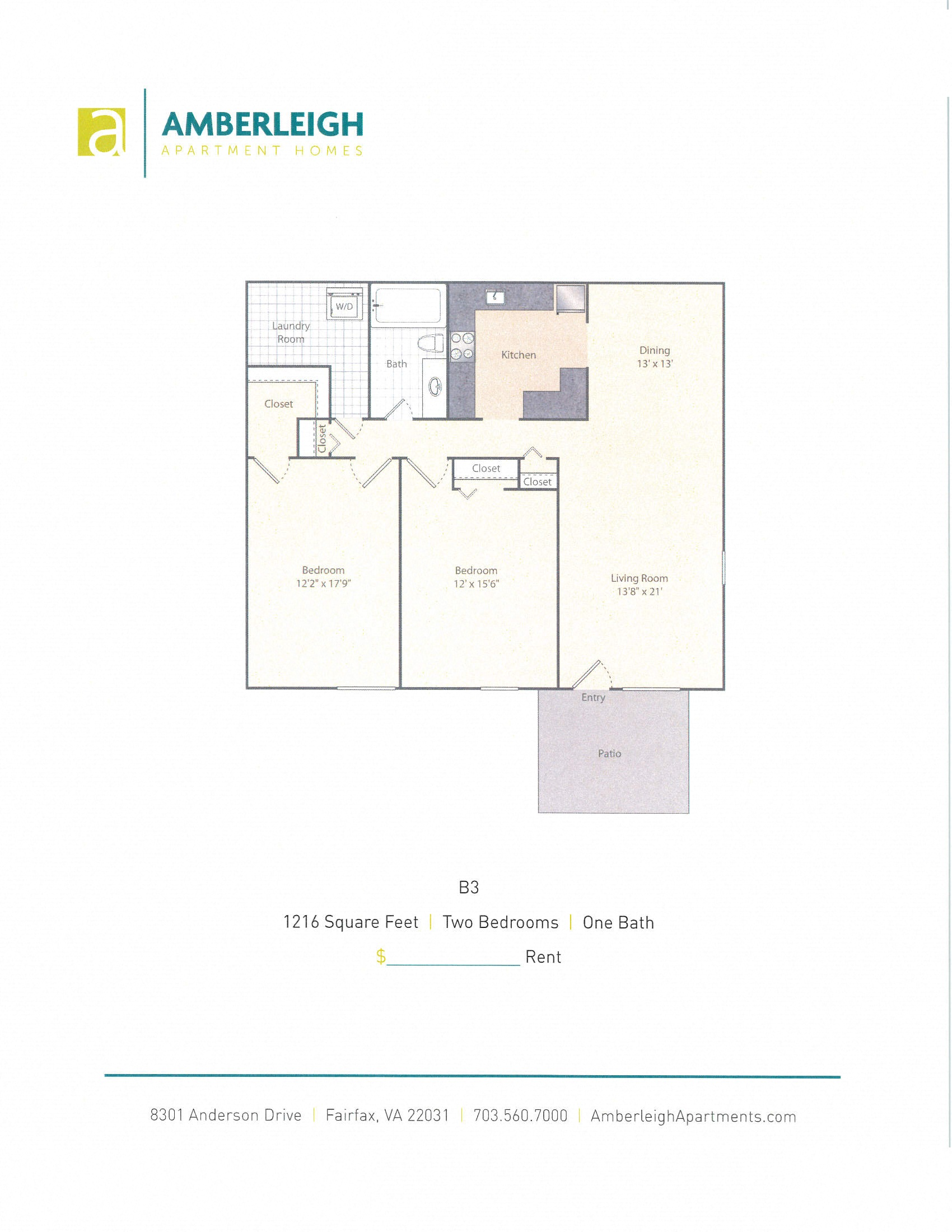 Two Bedroom, One Bath Floor Plan At Amberleigh Apartments In Fairfax,  Virginia 22031