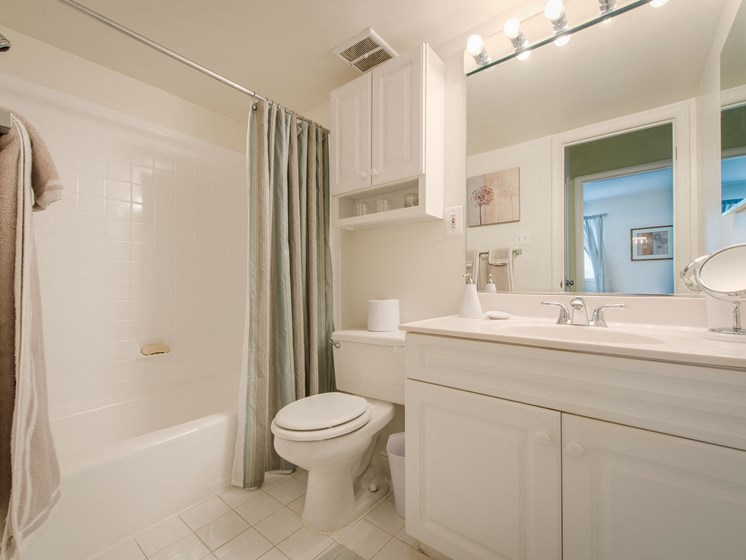 Bathroom with white cabinets, large sink area and mirror, bathtub, toilet, and towel bar at Amberleigh apartments in Fairfax, Virginia 22031