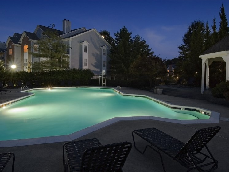 Night shot of swimming pool at The Edgemoore apartments in Alexandria, VA 22315