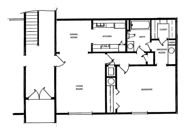 1 Bedroom, 1 Bath, Carport Floor Plan 2