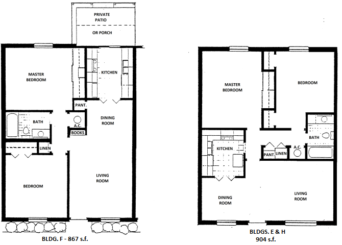 2 Bedroom, 1 Bath Floor Plan 2