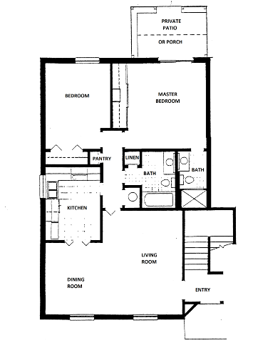2 Bedroom, 2 Bath Floor Plan 3
