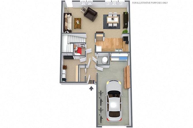 2 Bedroom/1.5 Bath Townhouse Floor Plan 1
