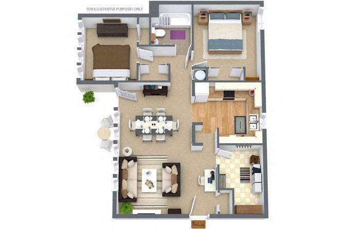 2 Bedroom/1 Bath Garden Floor Plan 2