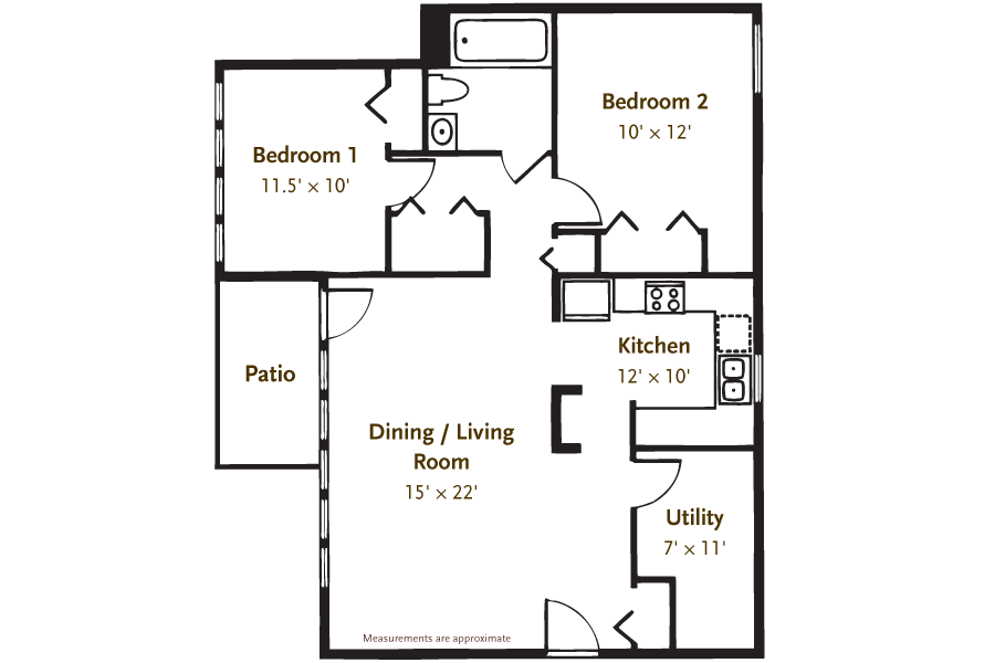 2 Bedroom/1 Bath Garden Floor Plan 2