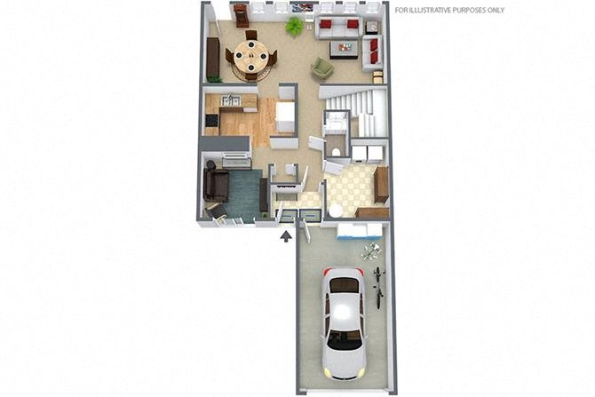 3 Bedroom/2.5 Bath Townhouse Floor Plan 3