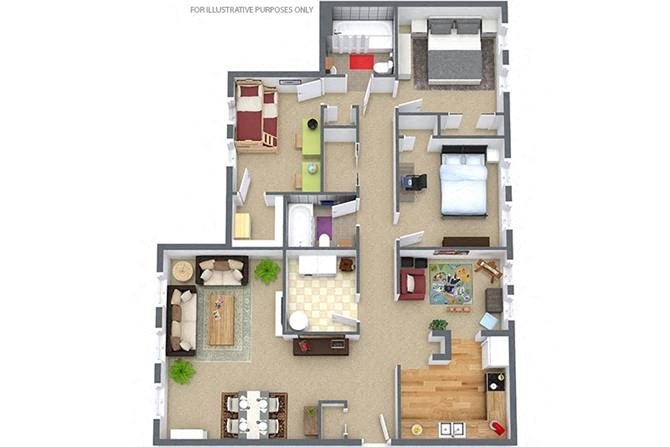 3 Bedroom/2 Bath Garden Floor Plan 4