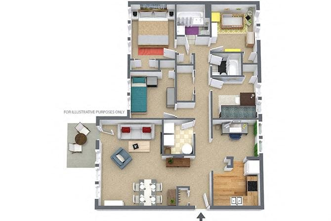 4 Bedroom/2 Bath Garden Floor Plan 5