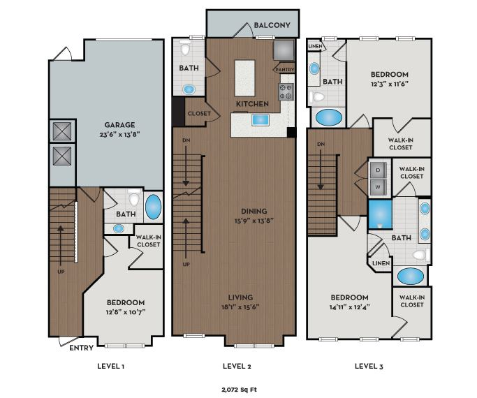 The Links Rea Farms - Charlotte, NC - Torrey Pines I townhome floor plan