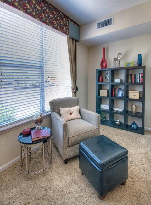 Vue Park West apartment reading corner with oversized window and wall to wall carpet