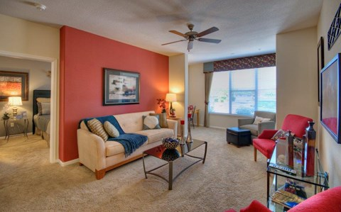 Vue Park West Apartments living room with accent wall