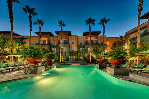 palm trees surrounding pool at twilight