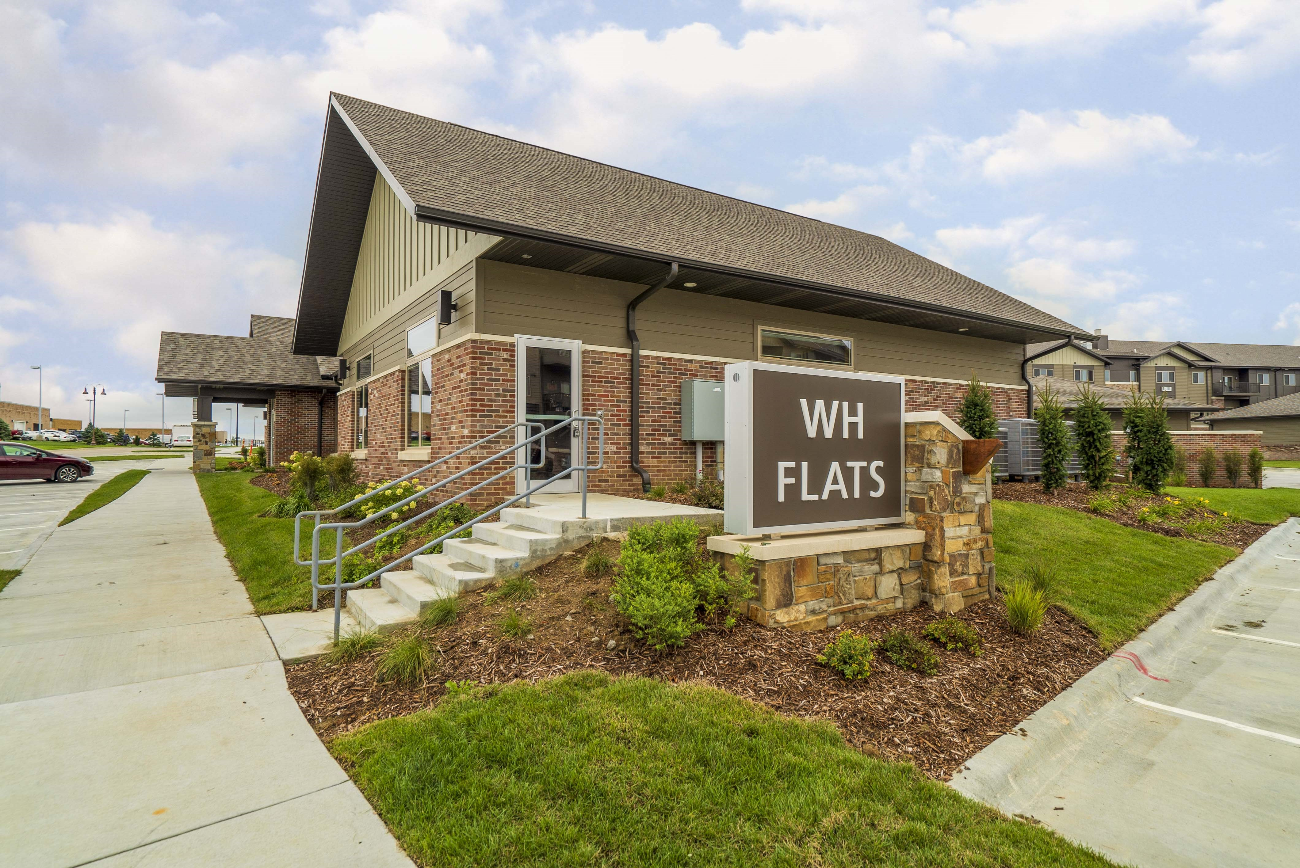 Exterior view of WH Flats new luxury apartments in south Lincoln NE 68516