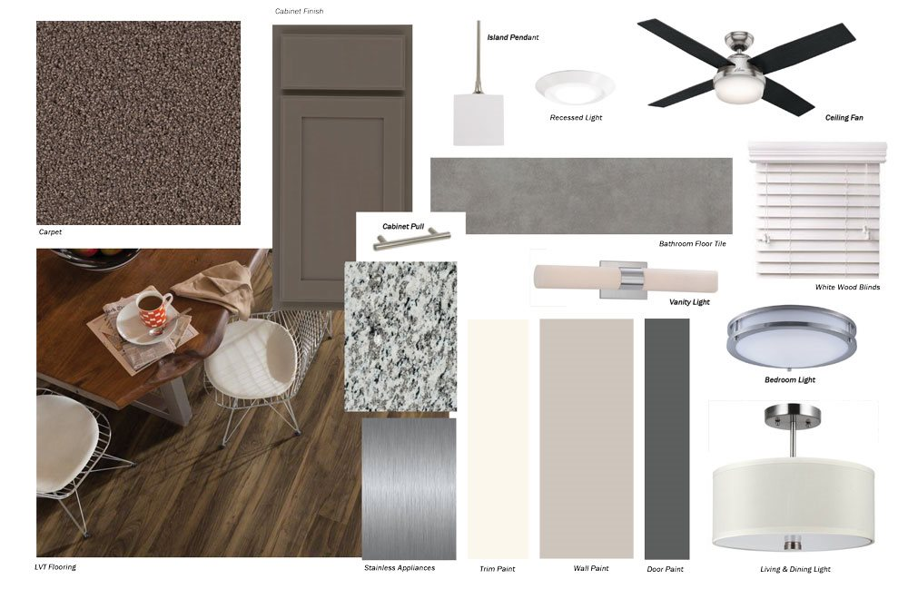 Color palette for neutral tones design scheme at WH Flats in south Lincoln NE