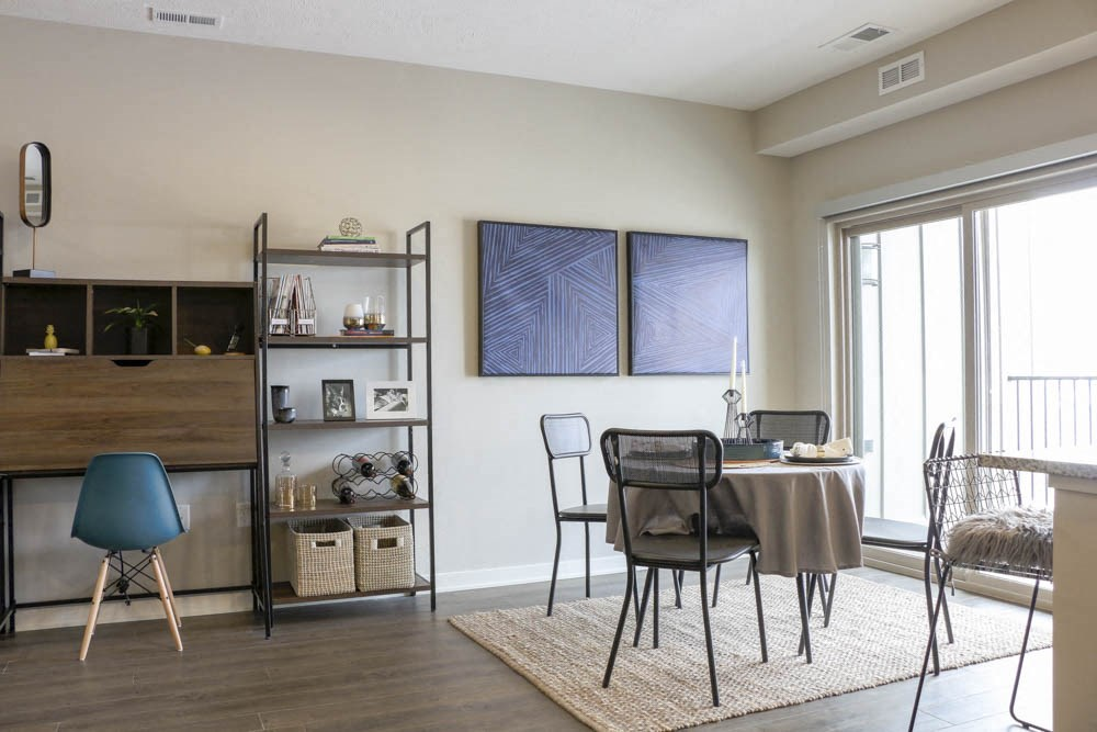 Dining area at WH Flats new luxury apartments in south Lincoln NE 68516
