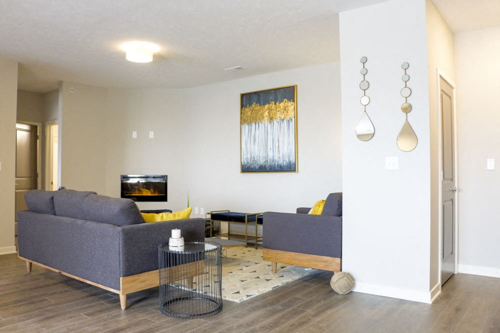 View of living room and entry way at WH Flats new luxury apartments in south Lincoln NE 68516