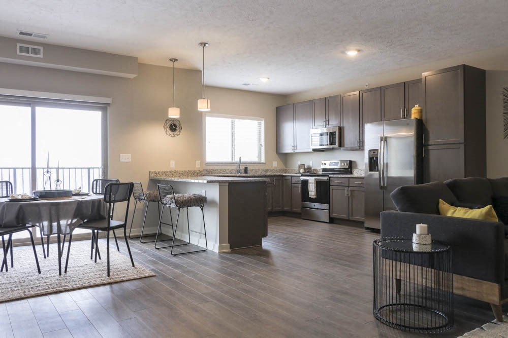 One bedroom with huge kitchen at WH Flats new luxury apartments in south Lincoln NE 68516